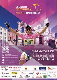 El próximo día 29 de Mayo se celebrará la VI Marcha Alberto Contador, que en esta ocasión se traslada a Cuenca y su serranía, donde está previsto un exigente recorrido de 196 kilómetros con salida y llegada en la calle Hermanos Becerril. Un año más, Alberto Contador portará el dorsal número uno entre los inscritos.