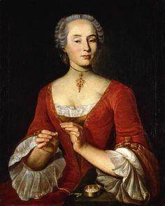 Johann Ulrich Schellenberg (Swiss, 1709-1795) - Portrait of a Lady, a pearl necklace stringing, 1745