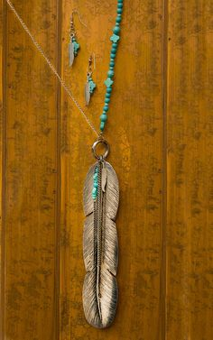 West & Co Silver Feather with Turquoise Beaded Chain Jewelry Set