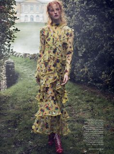 Magdalena Jasek poses outdoors in spring looks for Harper's Bazaar UK March 2016 by Regan Cameron [fashion]