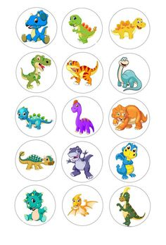 Cute Dinosaur Edible Image for Oreo Cupcake Topper Frosting Pre-cut Icing Sheet Dinosaur Cupcake Toppers, Cupcake Toppers Free, Dinosaur Images, Cute Dinosaur, Animal Pictures For Kids, Baby Shower Party Games, Baby Dinosaurs, Bottle Cap Crafts, Dinosaur Birthday Party