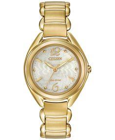 Citizen Women's Eco-Drive Gold-Tone Stainless Steel Bracelet Watch 31mm FE2072-89A