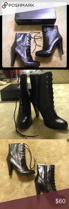 """Express black faux leather lace up heeled boots Lace up heeled boots by Express. Side zipper accent. Durable sole, 4.5"""" heel. Never worn. New out of the box! (Ships in original box as well) Size 9. Express Shoes Heeled Boots"""