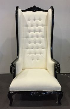 BLACK-WHITE-HOLLYWOOD-REGENCY-CHESTERFIELD-MAJESTIC-WING-VOLUTE-SCROLL-ARMCHAIR