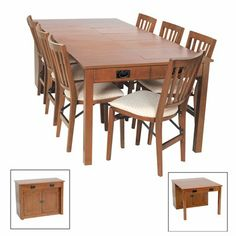 """Mission Expanding Cabinet Dining Table  This versatile piece of furniture is ideal for the home that needs extra table or workspace on a temporary basis.  Cabinet starts as a basic hutch w/ an area that stores five (5) leaves & other incidentals.  Add leaves until you reach the desired table size, up to 89"""" long.  No assembly required. Available in Fruitwood and ATGStores exclusive Cherry and Oak finishes.See the complete Stakmore Mission Expanding Cabinet Dining Set with True ..."""