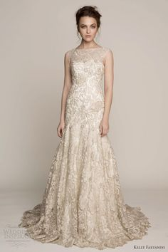 kelly faetanini spring 2014 nikola sheath illusion neckline wedding dress