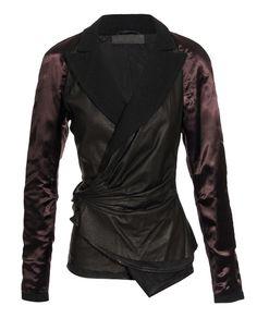 leather & wool wrap jacket haider ackermann browns