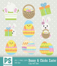 Bunny and Chicks Easter Vector Clip Art Graphics by PixelaitStu Vector Format, Eps Vector, Craft Items, Handmade Crafts, Card Making, Bunny, Clip Art, Easter, Scrapbook