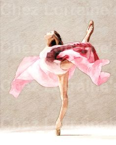 Swirling: A Ballet Dance Watercolor Fine Art от ChezLorraines