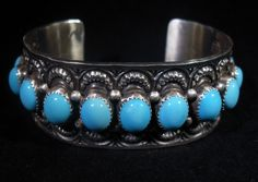 Nelvin Burbank Native American Navajo Sterling Silver & Turquoise Bracelet