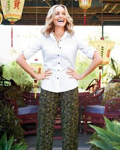 Button tab no-iron shirt & Rainforest wide-leg pant l #ColdwaterCreek