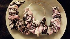Pink Fabric Hoop Earrings