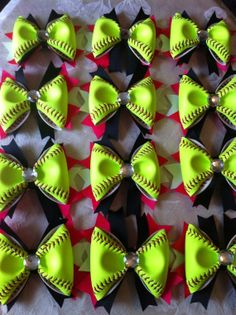 Softball hair bows made from real softball covers
