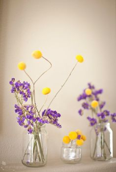 """Using dried Statice and Craspedia flowers to bring a """"wildflower"""" look indoors."""