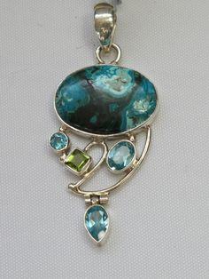 Chrysicolla Pendant 2 with Blue Topaz and Peridot