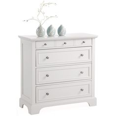 Constructed in sturdy engineered wood and Asian hardwood and featuring an attractive finish, this modern white chest keeps your valuables safe. It highlights four large drawers with brushed-nickel hardware pulls for ample storage and style.