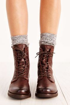 Urban Outfitters Frye Veronica Combat Boot - Leather Boots - Ideas of Leather Boots - Urban Outfitters Frye Veronica Combat Boot Sock Shoes, Cute Shoes, Me Too Shoes, Frye Boots, Ugg Boots, Snow Boots, Boot Over The Knee, Style Converse, Converse Outfits