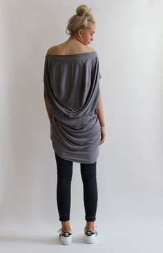 Slouchy jersey top with seam and draping detail to the back which creates a unique look. Cut to be worn off shoulders with shaped hem detail at the front. Made from a soft stretch cotton jersey fabric. Size S/M fits UK Size M/L fits UK Luxe Clothing, Fashion Labels, Draping, Off The Shoulder, Normcore, Detail, Tees, Unique, Fabric