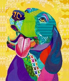 """""""A Warm Reception"""" Cut paper collage by Laura Yager SOLD -Boise Weekly cover art 3/4/15. beagle dog artwork, animal portraits artwork, cut paper artwork"""