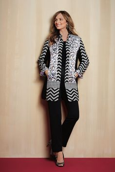 Sports jacket decorated with a mix of leopard, houndstooth and zig zag patterns for an eye-catching appeal!