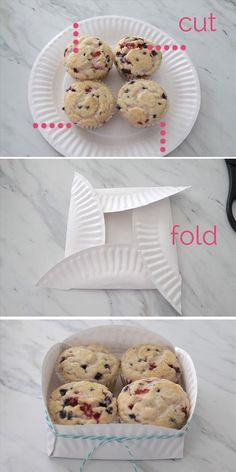 Make a gift box out of a paper plate. Use for muffins, cookies, or other homemade treats in a festive and cheap way. Ideias Diy, Food Gifts, Paper Plates, Paper Plate Basket, Styrofoam Plates, Paper Cups, Homemade Gifts, Homemade Cookies, Food Hacks
