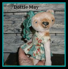 PDF EPattern to make 8 inch 'Dottie May' Vintage Style Viscose or Mohair Bear by Artist KarynRuby - pinned by pin4etsy.com