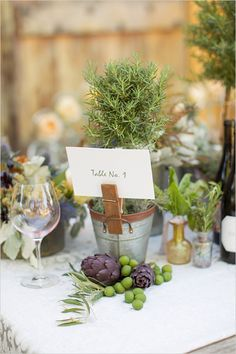 rosemary favor idea | table number | wedding reception ideas | #weddingchicks