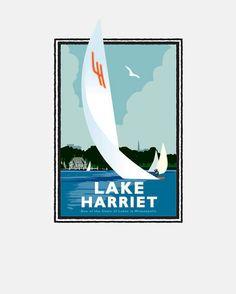 "Landmark Series ""Lake Harriet Sail"" Minneapolis, MN by Graphic Artist, Mark Herman. Giclée print on matte paper, ready for framing."