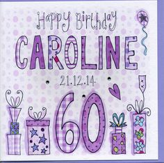 Birthday Card by Claire Sowden Design, the perfect gift for Explore more unique gifts in our curated marketplace. 60th Birthday Cards For Ladies, 100th Birthday Card, 85th Birthday, Birthday Card Design, Handmade Birthday Cards, Handmade Cards, Card Patterns, Sparkle, Crystals