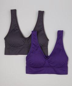Look what I found on #zulily! Nine Iron Gray & Petunia Purple Seamless Sports Bra Set - Women by Lady Marlene #zulilyfinds