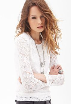 FOREVER 21 Crocheted Crew Neck Top