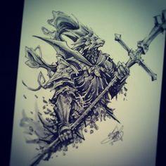 Dragon Slayer Ornstein commission. #ink #dark #souls #darksouls #marker #art