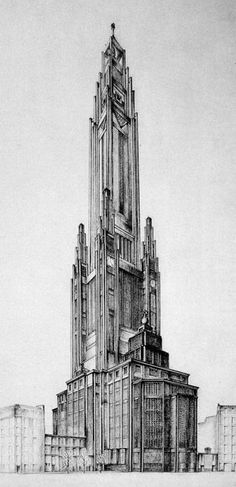 1926 design for the Sainte-Jeanne-d'Arc basilica by Auguste Perret