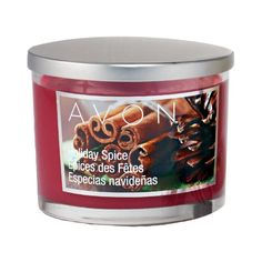 """Notes of cinnamon, vanilla and bay. Wax candle in 11 oz. glass jar with brushed metal cover. 3 1/4""""H x 3 6/4 diameter. 3 wicks; 30-hour burn time. Made in USA. Never leave burning candle unattended. Keep out of reach of children."""
