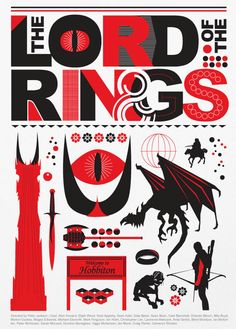 The Lord of the Rings  Red and Black Poster A3 by Posterinspired,