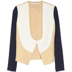 Diane von Furstenberg Ferhia color-block crepe-jersey jacket ($365) ❤ liked on Polyvore