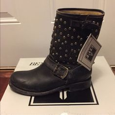 NWT!!! Frye Jenna Cut Stud Short Stonewashed Boots NWT!!! Beautiful studded black Frye boots. New With Tags and box!!! They have never been worn. They are supposed to look distressed. And YES the bottoms are supposed to look like that!! Frye Shoes Ankle Boots & Booties