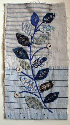 japanische Quilts Unframed appliqued picture on to old piece of by MandyPattullo, Buying A Watch As Wool Applique, Applique Quilts, Embroidery Applique, Machine Embroidery, Small Quilts, Mini Quilts, Sashiko Embroidery, Embroidery Stitches, Fabric Pictures
