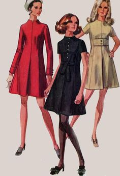 1960s MOD Dress with Princess Seaming and Front Inverted Pleat Simplicity 6496…