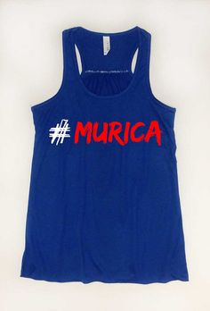 """4th of July """"#Murica"""" Patriotic Funny Tank. Hashtag Murica. America Shirt. Royal Blue long, flowy, racerback tank top. Independence Day. on Etsy, $21.00"""