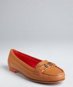 Salvatore Ferragamo cognac grained leather 'Simba' gancio strapped loafers
