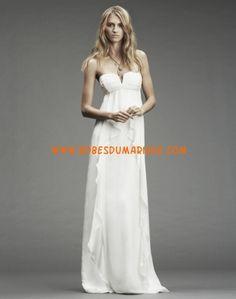 Nicole Miller belle robe de mariée col en cœur simple longue mousseline