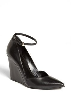 $98, Black Leather Wedge Pumps: Nine West Eviee Leather Wedge Pump Black Leather 7 M. Sold by Nordstrom. Click for more info: https://lookastic.com/women/shop_items/202804/redirect