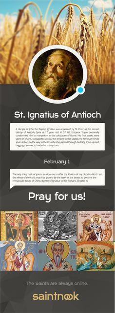 February 1 | Ignatius of Antioch http://www.saintnook.com/saints/ignatiusofantioch