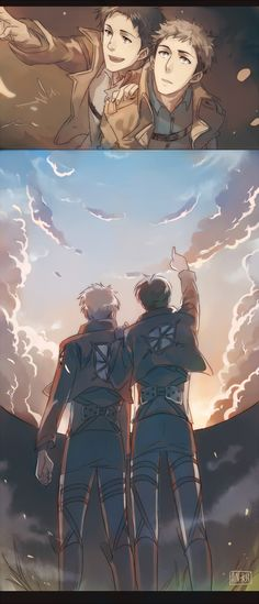 """Attack on Titan ~~ """"Look up there, Jean! We've got another great day ahead. It'll be okay!"""" Sadly, it was the morning of the Battle for Trost... :: Jean and Marco"""