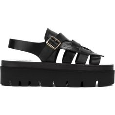 Mm6 Maison Margiela strappy flatform sandals (€465) ❤ liked on Polyvore featuring shoes, sandals, black, flatform sandals, black strappy shoes, black leather shoes, black flatform sandals and strap shoes