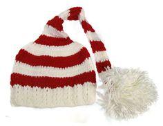 Red & White Stripe Elf Crochet Hat w/ Pom Pom