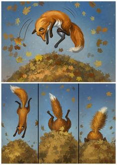 About foxes and leaves 02 by LouieLorry on DeviantArt