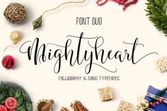 INTRODUCING Mightyheart Font Duo are two of different typefaces caracter, modern and clasik, calligraphy wavy and sans font, which was created to meet the needs of your next design project. Mightyheart..Can be used for various purposes.such as the title, signature, logo, correspondence, wedding invitations, letterhead, signa