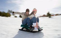 зима, снег, парень, девушка, пара, санки, радость